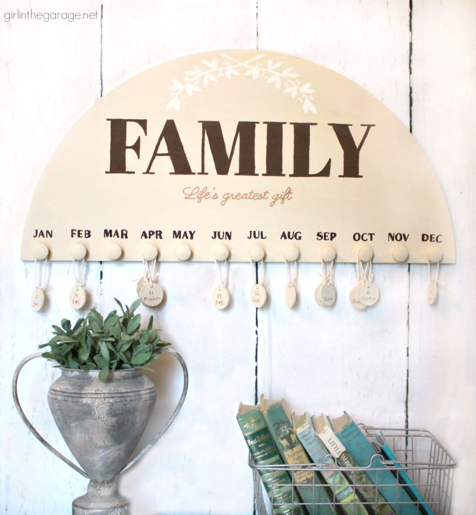 DIY Family Birthday Calendar - Girl in the Garage