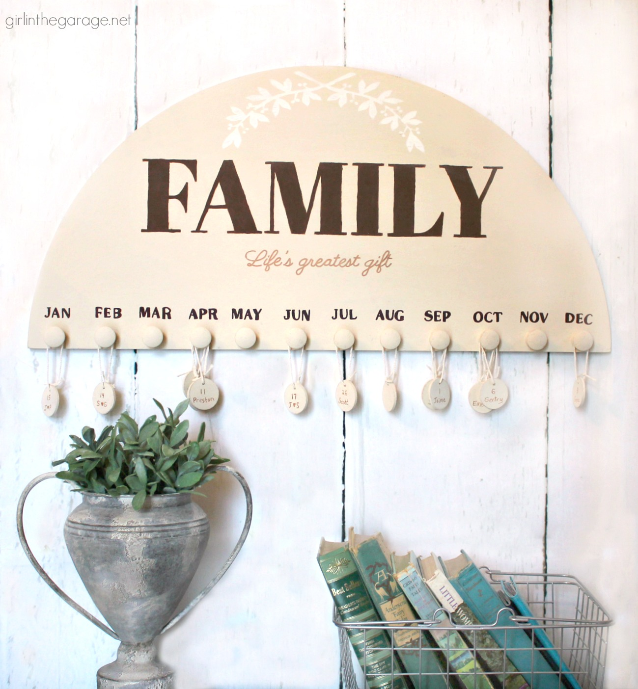 Thrifted art to DIY family birthday calendar - Remember important dates with a keepsake wall calendar - Step by step tutorial by Girl in the Garage