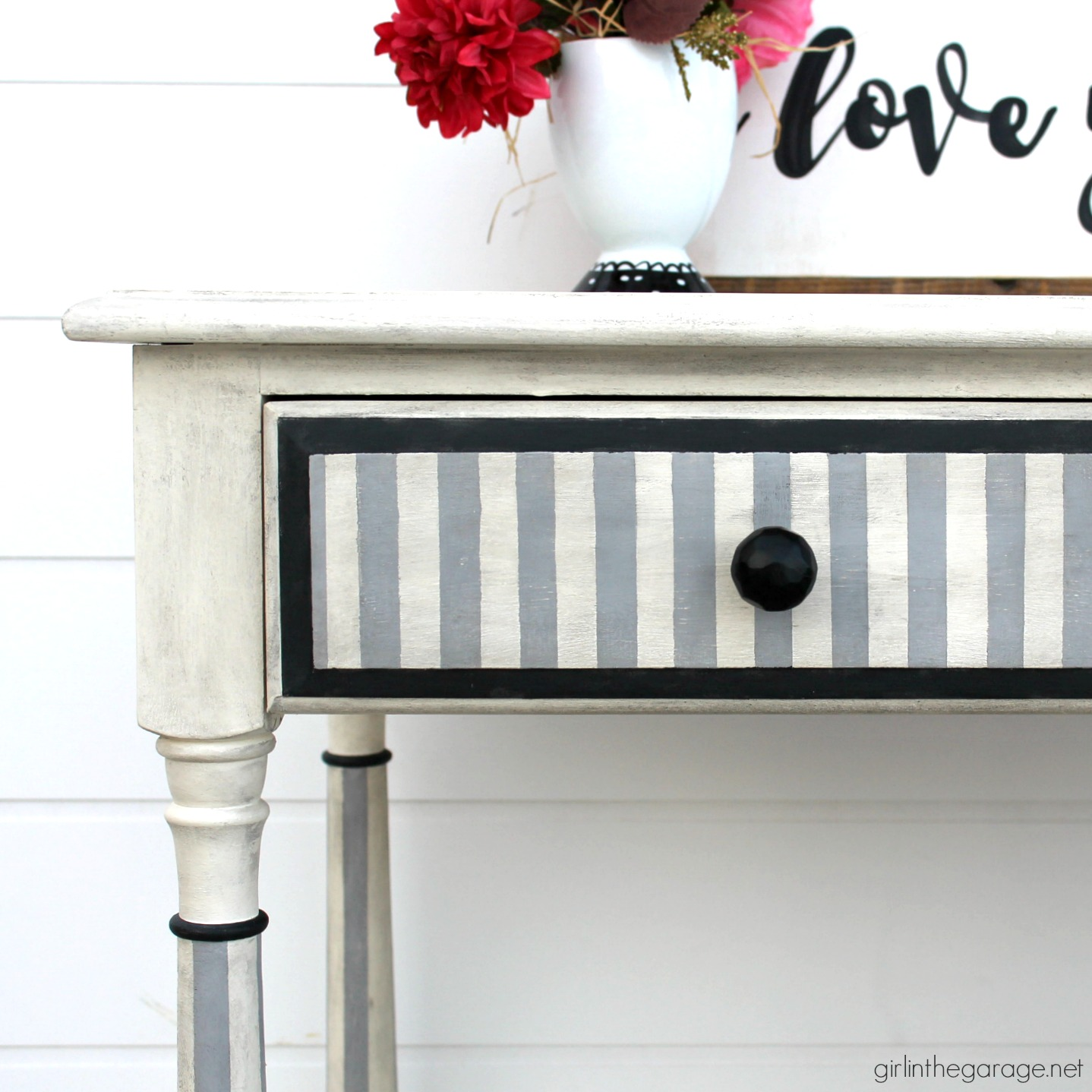 DIY striped table makeover with a modern French look using Annie Sloan Chalk Paint. Easy tutorial by Girl in the Garage