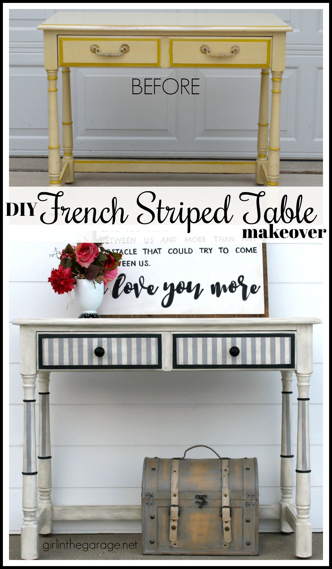 French striped table makeover - Girl in the Garage