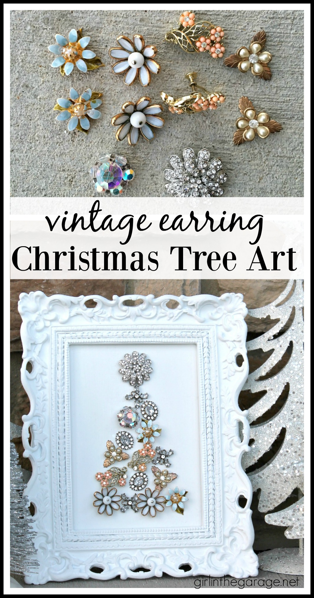 Repurposed vintage earring Christmas tree art - Girl in the Garage