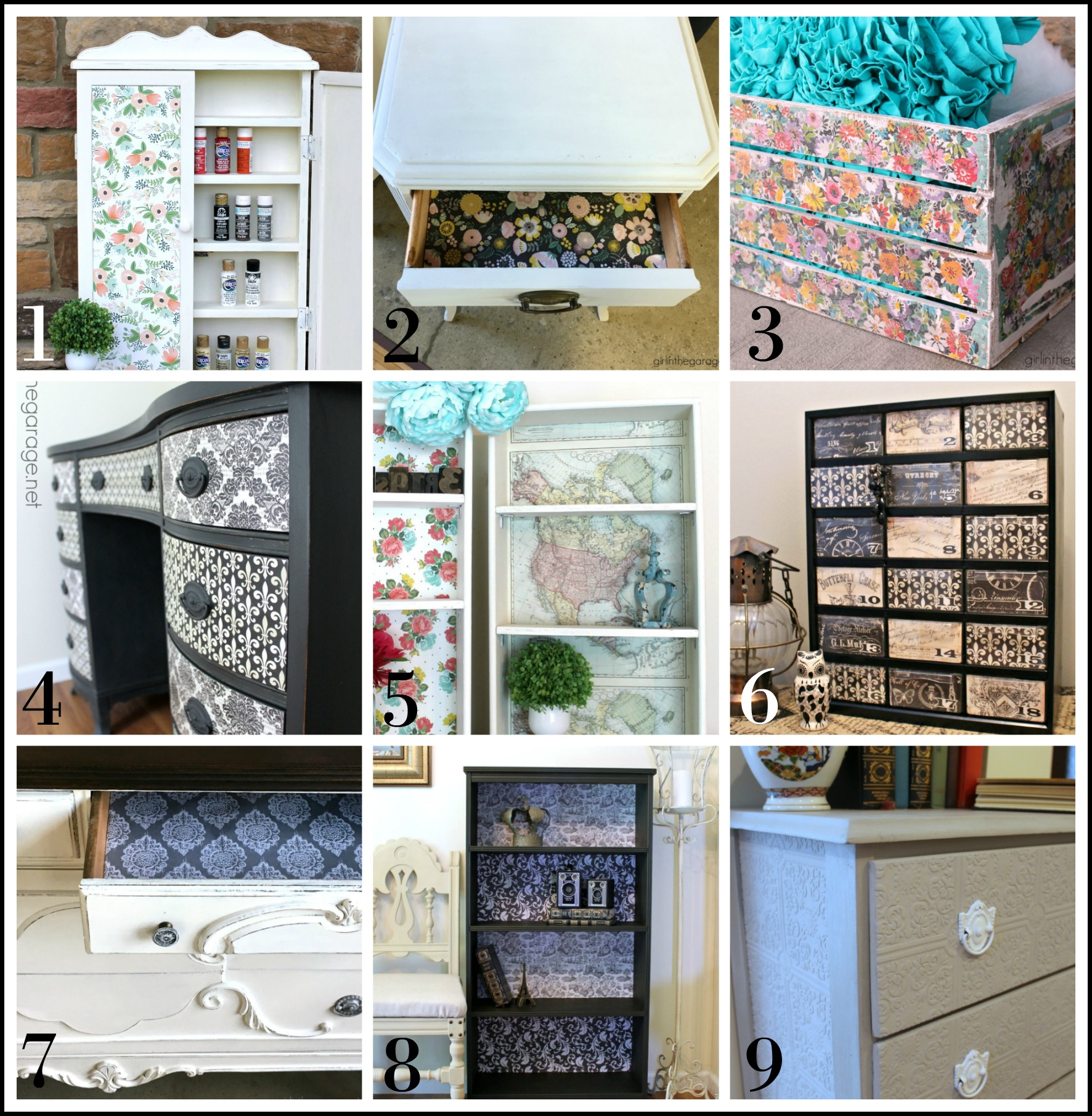 Decoupage furniture makeovers by Girl in the Garage