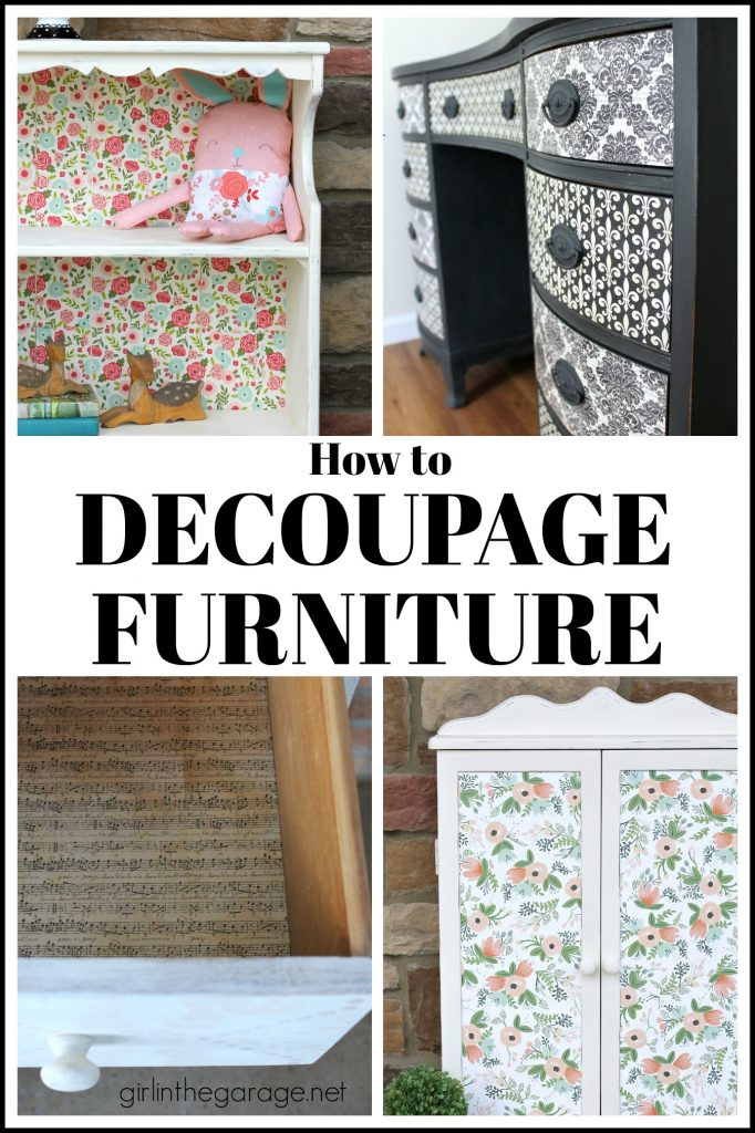 How to Decoupage Furniture for Stunning Results - DIY furniture makeover ideas by Girl in the Garage