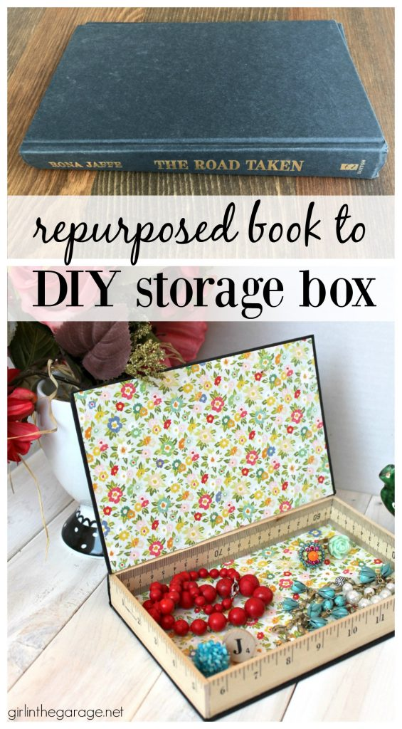 Repurposed book cover to DIY storage box - Girl in the Garage