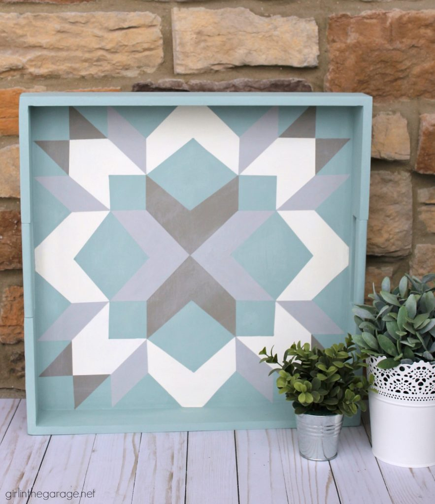How to paint a barn quilt on a thrifted tray - Girl in the Garage