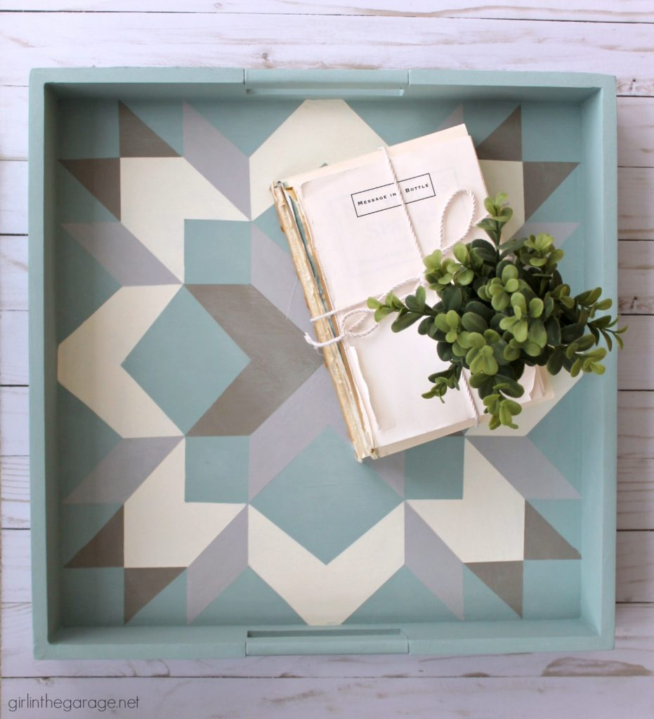 How to Paint a Barn Quilt (on a thrifted tray) - Girl in the Garage