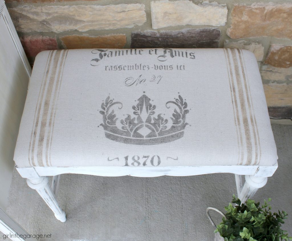 DIY French grain sack bench makeover, stenciled with Chalk Paint on drop cloth. By Girl in the Garage