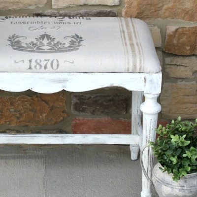 DIY French Grain Sack for a Bench Makeover