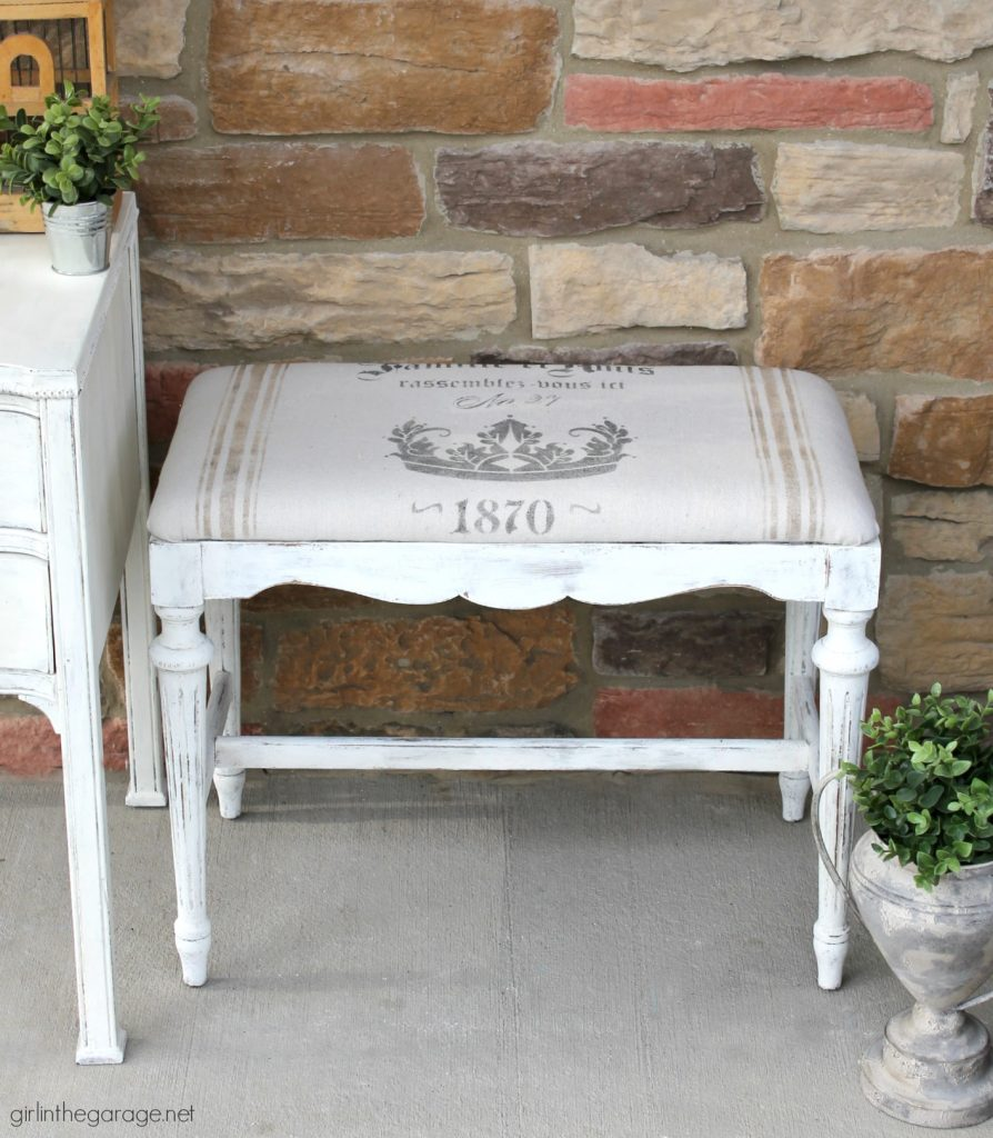 DIY French Grain Sack Bench Makeover - Girl in the Garage