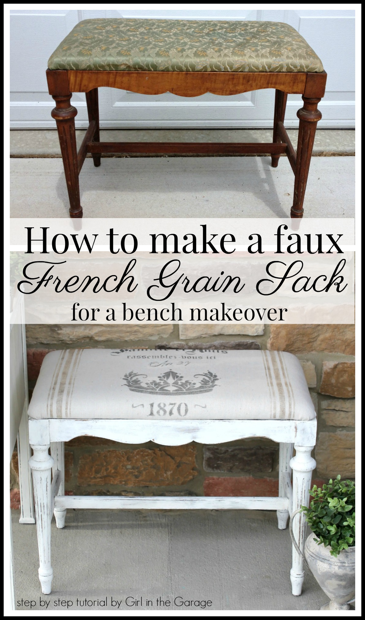 How to make a DIY French grain sack with drop cloth and a stencil - Step by step bench makeover tutorial by Girl in the Garage