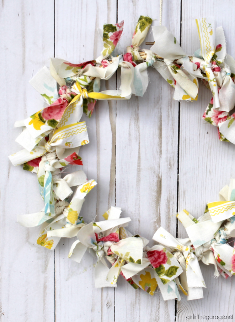 Easy Rag Wreath From Vintage Linens - Girl in the Garage
