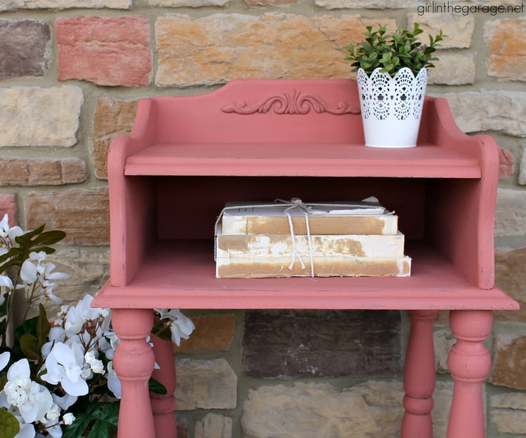 Scandinavian Pink Telephone Table Makeover - Girl in the Garage
