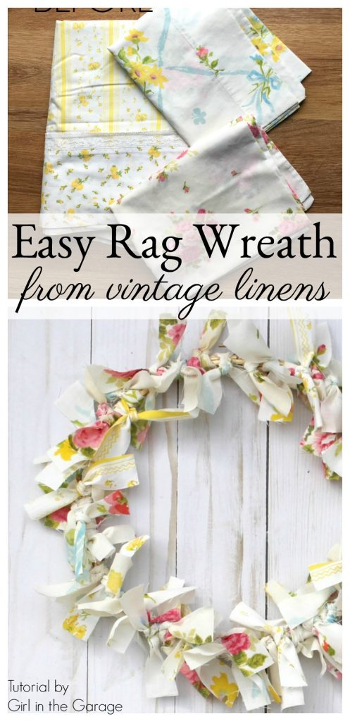 How to make an easy DIY rag wreath from vintage bed linens - Girl in the Garage