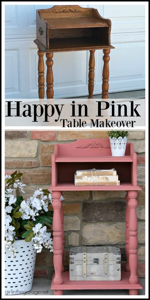 This updated telephone table was rescued from the thrift store and painted pink Chalk Paint. Now it's happy and living its best life. By Girl in the Garage