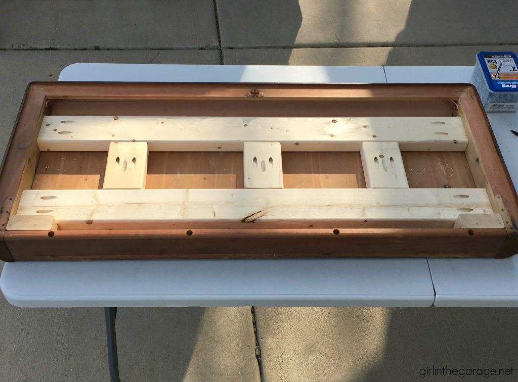 Repurposed cedar chest lid to modern farmhouse bench - DIY tutorial by Girl in the Garage