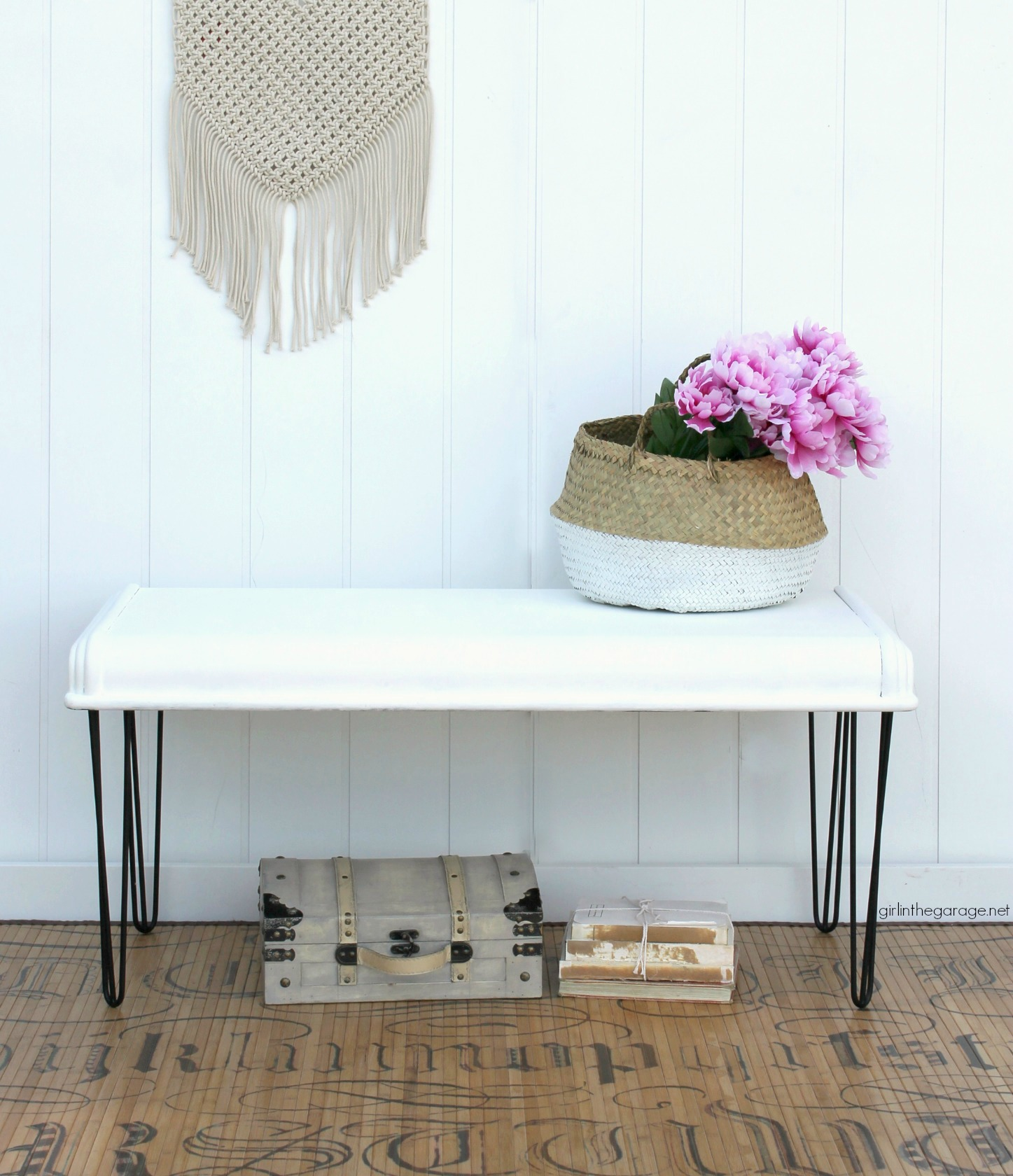 Repurposed chest lid to DIY modern farmhouse bench - Girl in the Garage