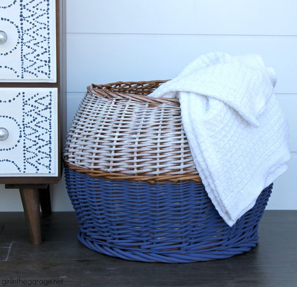 How to paint a wicker basket - Easy thrift store boho chic basket makeover with Chalk Paint - DIY tutorial by Girl in the Garage