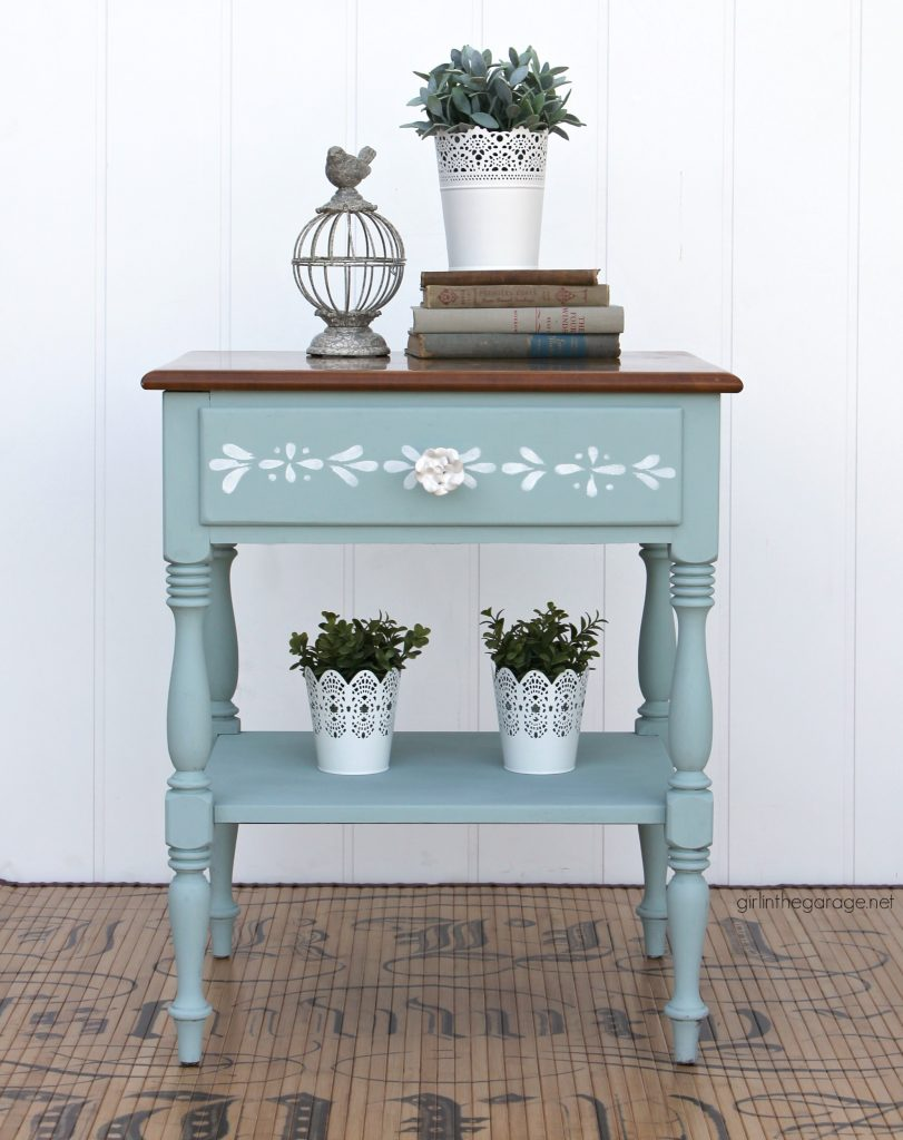 Stenciled Ethan Allen nightstand makeover - Girl in the Garage