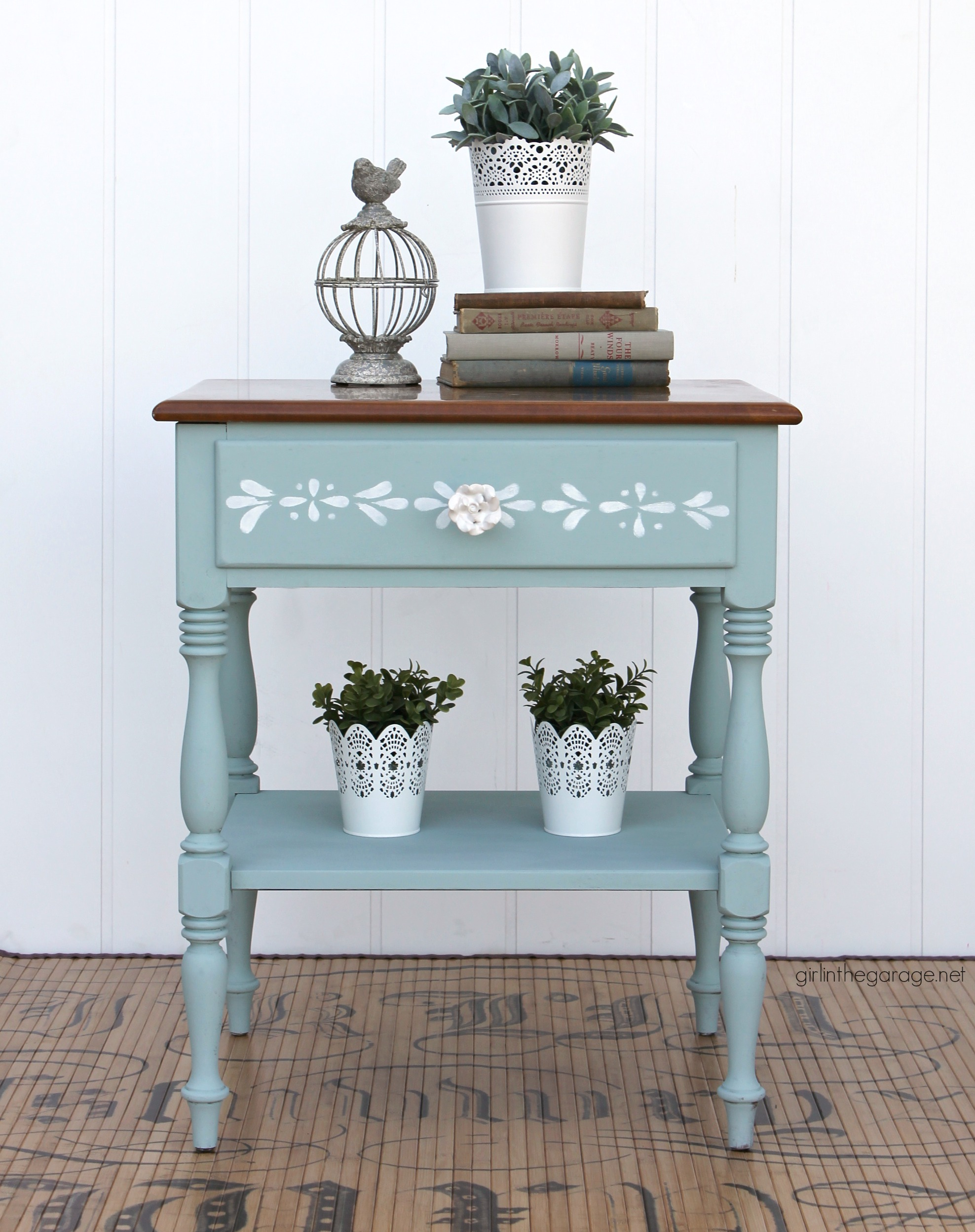 Charming painted Ethan Allen nightstand - How to Chalk Paint and stencil Ethan Allen furniture - Painted furniture ideas by Girl in the Garage