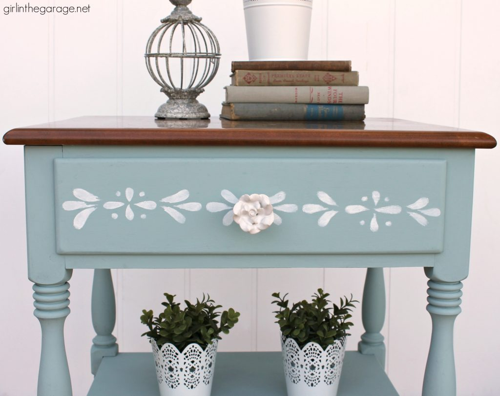 Charming painted Ethan Allen nightstand - from yard sale to charming stenciled table with Chalk Paint. By Girl in the Garage