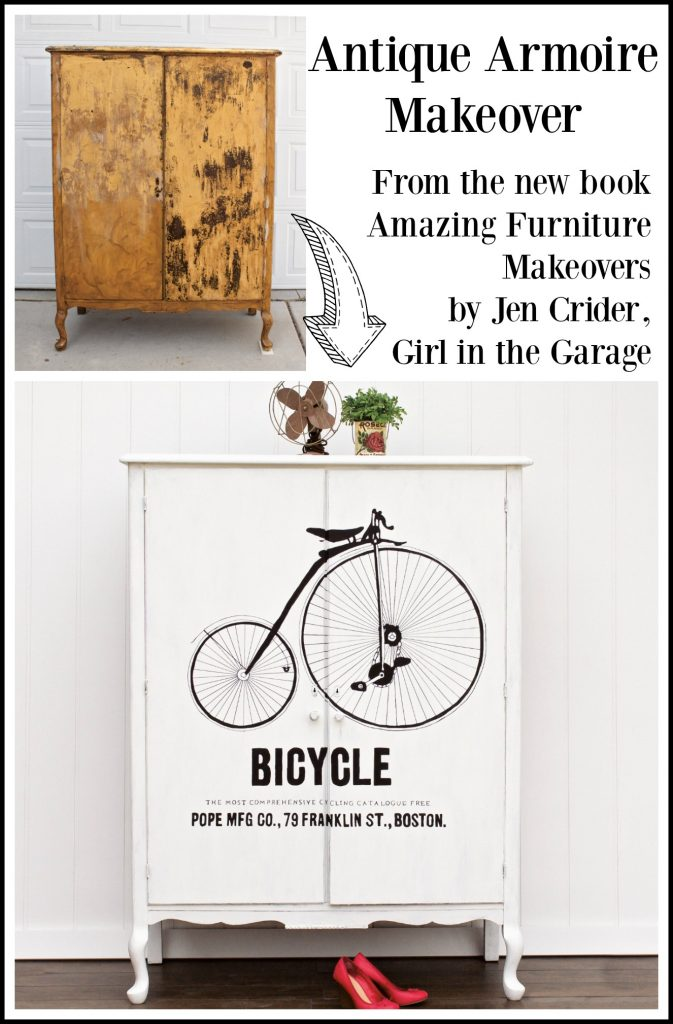 Antique armoire makeover with image transfer featured in the book Amazing Furniture Makeovers by Jen, Girl in the Garage