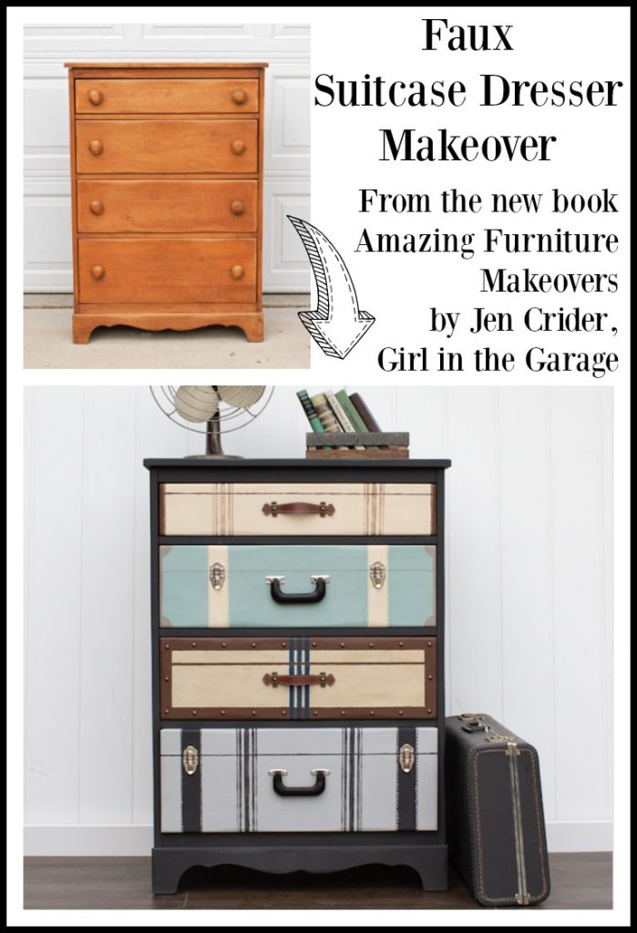 Faux suitcase dresser makeover featured in the book Amazing Furniture Makeovers by Jen, Girl in the Garage