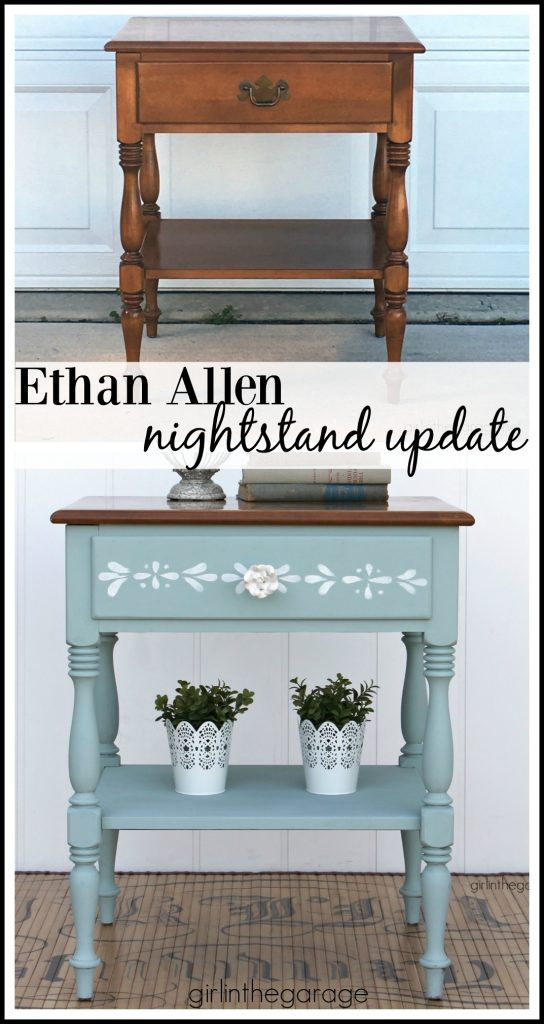 Ethan Allen nightstand makeover with stenciled Chalk Paint - Girl in the Garage