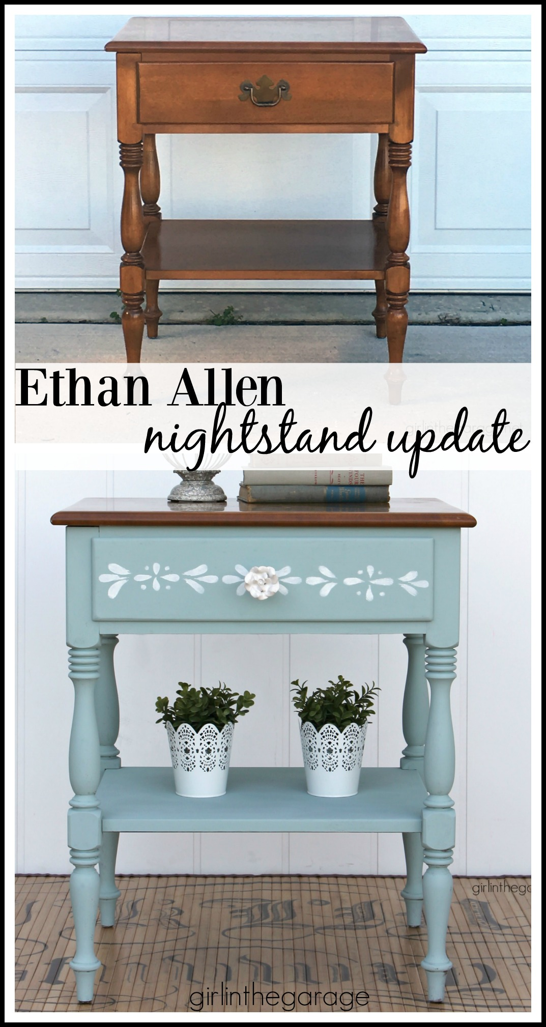 Ethan Allen nightstand painted and stenciled with Chalk Paint - by Girl in the Garage