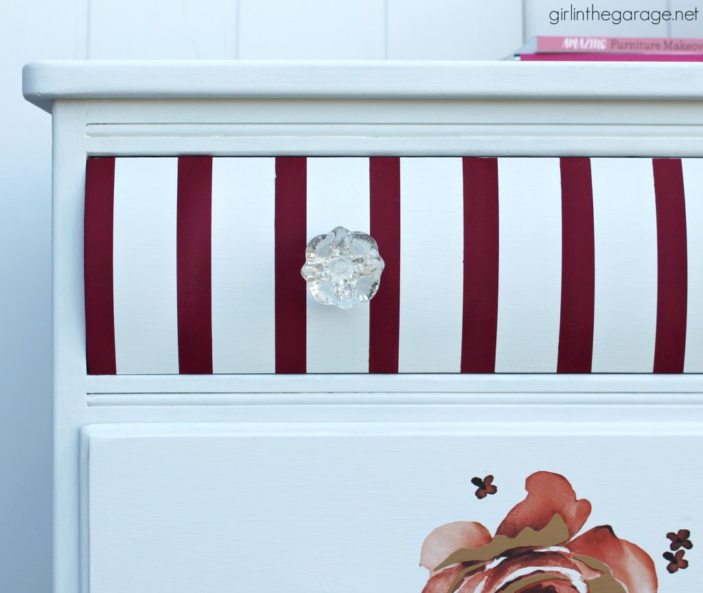Chic DIY striped floral dresser makeover - Trash to treasure project by Girl in the Garage