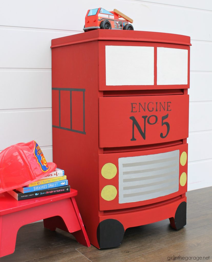 How to paint a fire truck dresser makeover for a kids room - Step by step creative DIY tutorial by Girl in the Garage