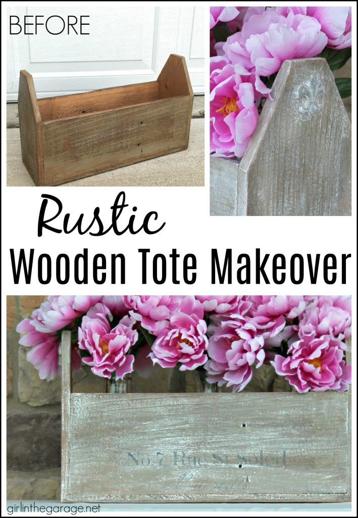 Wooden tote box makeover with a beautiful rustic French vibe - dry brushing, stencil, and wood appliques. DIY tutorial by Girl in the Garage