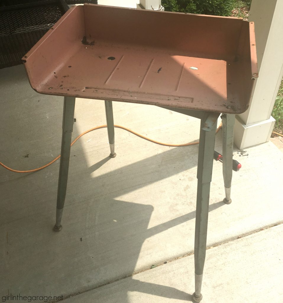 How to paint a vintage metal desk makeover tutorial - Girl in the Garage