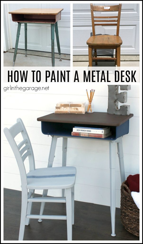 How to paint a vintage metal desk makeover tutorial with faux stained wood top - DIY tutorial by Girl in the Garage