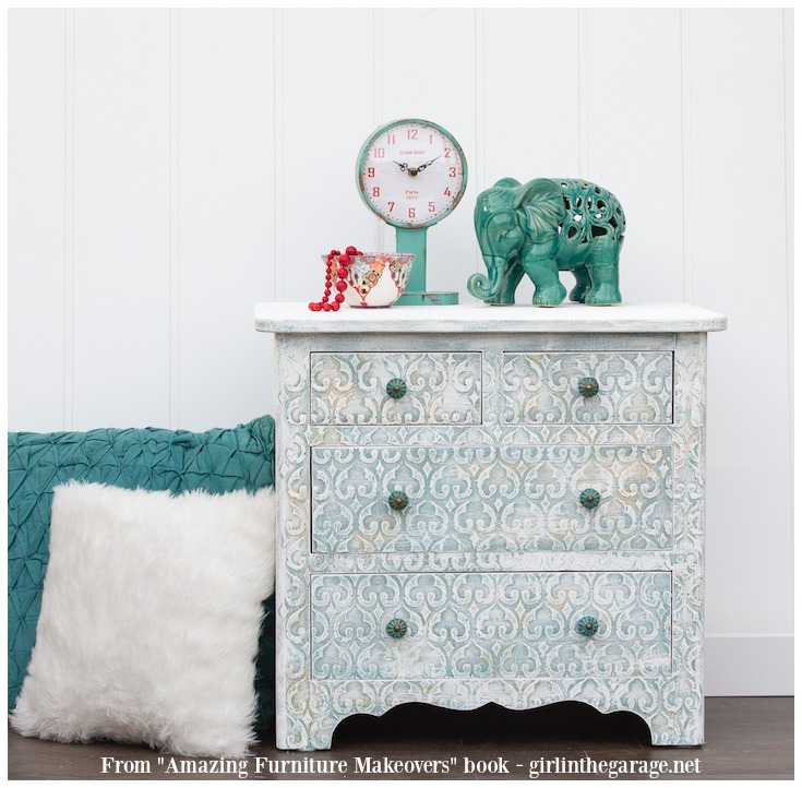 Embossed nightstand with raised stencil furniture makeover technique - from Amazing Furniture Makeovers book by Girl in the Garage