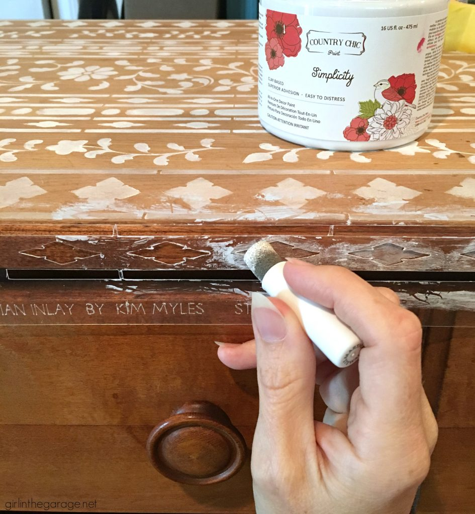 Get the high end look and stencil bone inlay furniture - for thousands less than buying the real thing! Step by step DIY tutorial by Girl in the Garage.