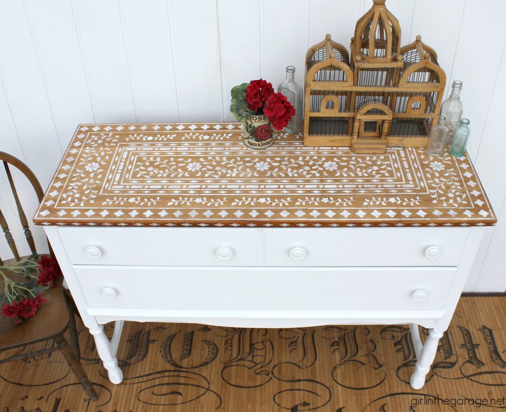 Stenciled painted sideboard makeover by Girl in the Garage