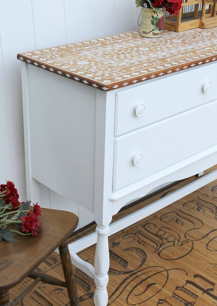 How to stencil bone inlay furniture - Girl in the Garage