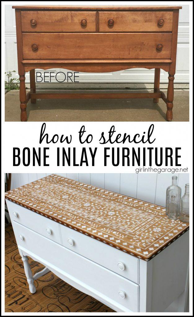 How to stencil bone inlay furniture for stunning results! DIY painted furniture ideas by Girl in the Garage