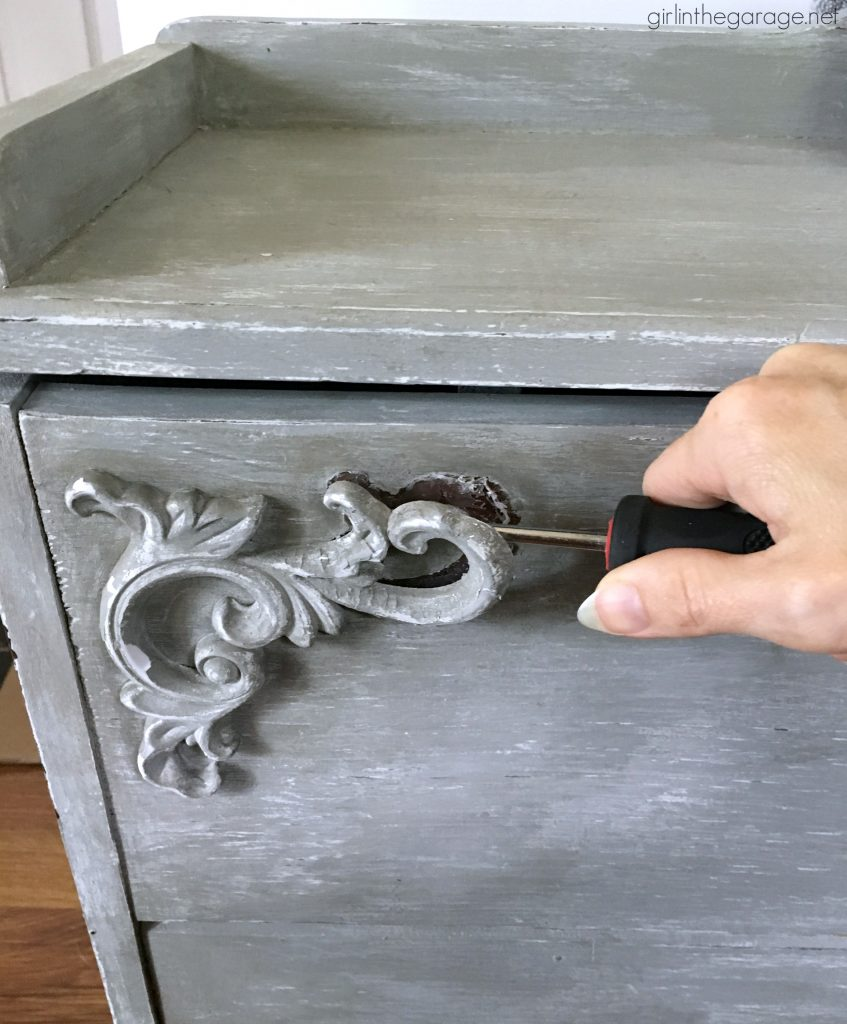 Beautiful DIY chest makeover with furniture applique and layered paints for depth and texture - How to create a French farmhouse finish by Girl in the Garage