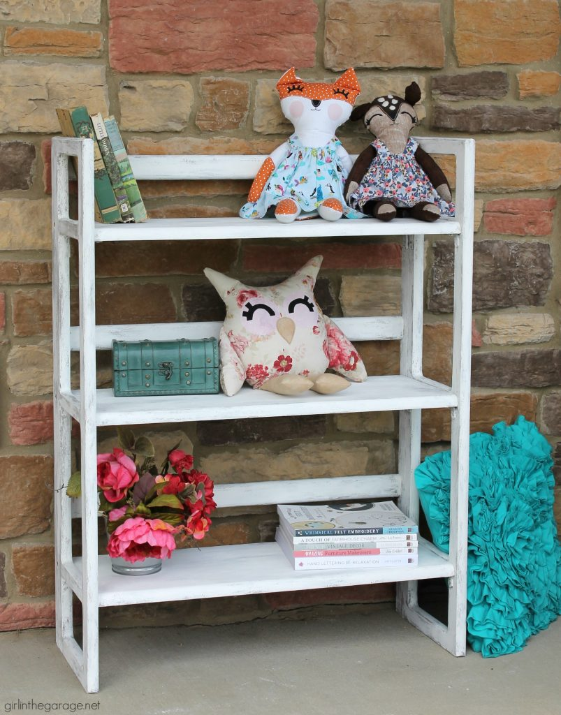 How to paint a folding bookcase - portable and sets up in seconds. Paint a folding bookcase to match your style. By Girl in the Garage