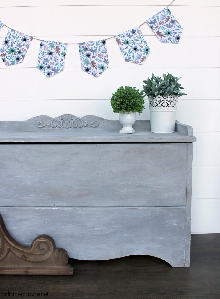 Creating depth with paint layers - Gray painted chest makeover by Girl in the Garage