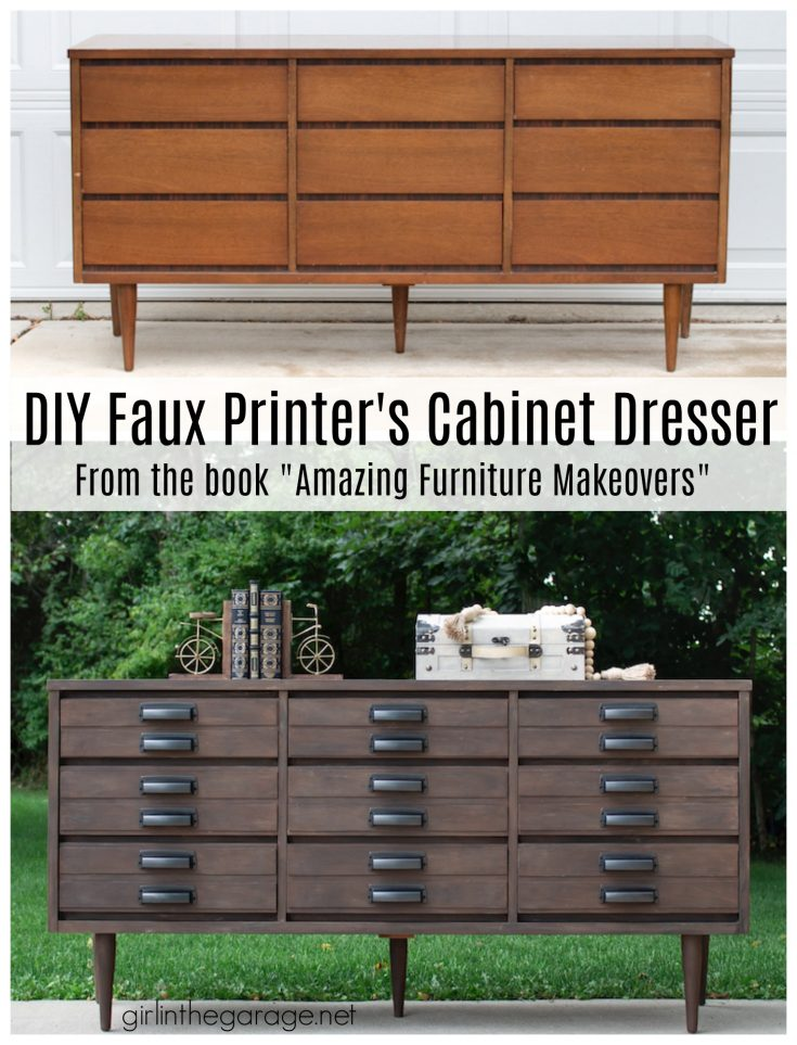 DIY Printer's Cabinet Dresser Makeover with Faux Stain Paint Treatment