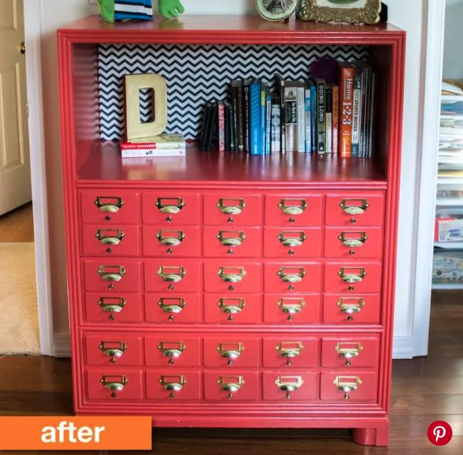 Beige Dresser to Faux Card Catalog Bookcase