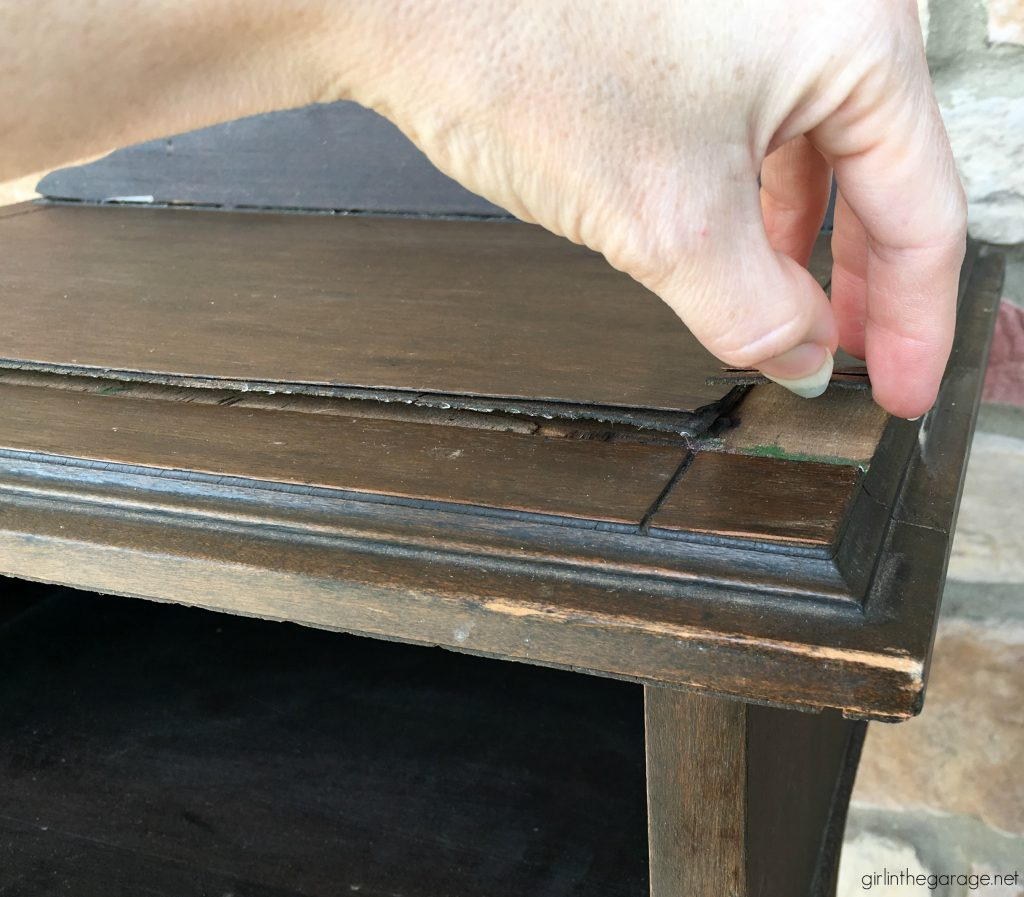 Damaged antique? How to remove and repair cracked veneer on antique table. Plus how to paint and distress (the right way). Tutorial by Girl in the Garage