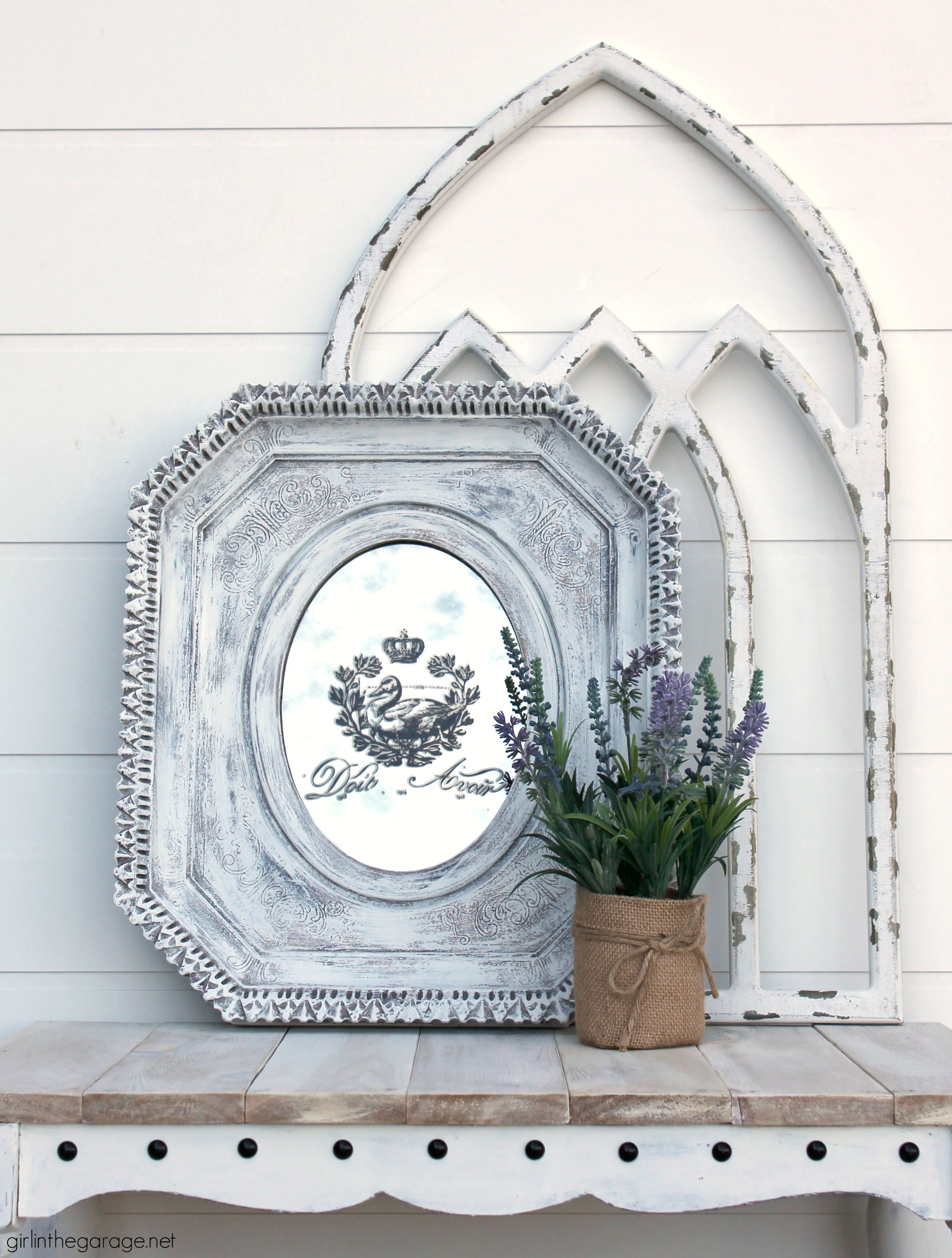 Thrifted mirror makeover with image transfer - Girl in the Garage