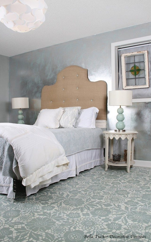 Painted and stenciled floor in Annie Sloan Chalk Paint - by Bella Tucker Decorative Finishes.
