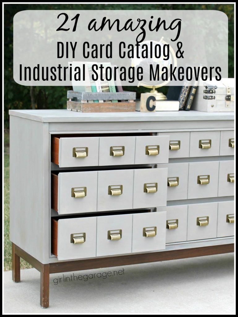 Card catalogs and industrial furniture look amazing, but are so expensive. Save money with these DIY card catalog makeovers and industrial furniture flips! Curated by Girl in the Garage