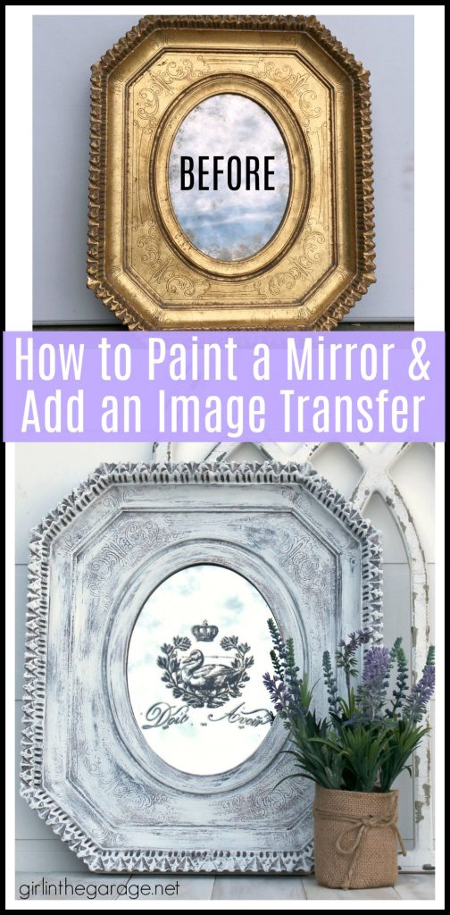 Easily update a thrifted mirror with this painted mirror makeover tutorial with rub-on image transfer. Get a dramatic look with little effort. By Girl in the Garage
