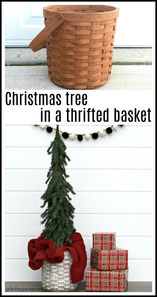 For cozy Christmas decor, learn how to use a thrifted basket as a DIY Christmas tree basket stand. An easy project with beautiful results. DIY furniture makeover and decor ideas by Girl in the Garage