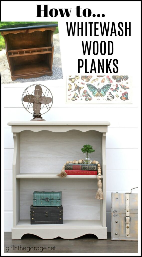 Learn how to easily whitewash wood planks for a gorgeous updated furniture makeover. DIY furniture makeover tutorial by Girl in the Garage.